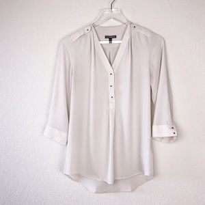 Express Lightweight Cream Blouse w/ metal buttons